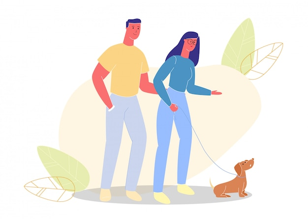 Man and woman in glasses walk on street with dog.
