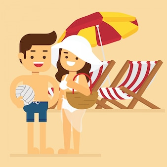 Man and woman go to travel in summer holiday, summer beach vacation couple