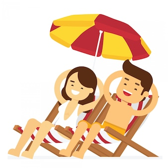 Man and woman go to travel in summer holiday