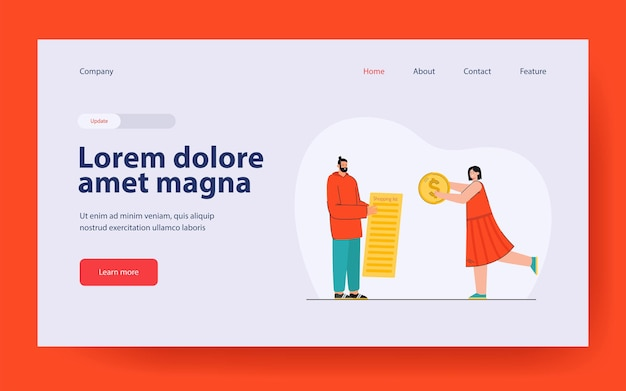 Man and woman going shopping landing page in flat style
