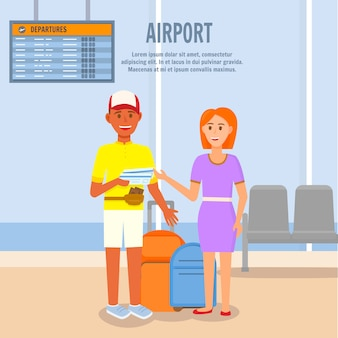 Man and woman going to summertime trip by airplane