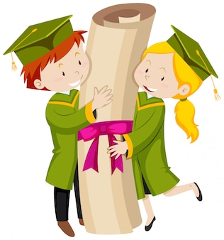 Man and woman in green graduation gown
