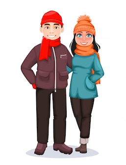 Man and woman. greeting card for winter holidays