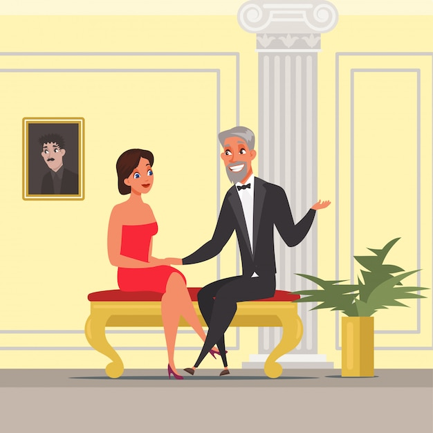 Man and woman having date illustration. wife and husband at theater, opera, operetta. fancy cinema hall interior. couple sitting and talking cartoon characters, people at vip event