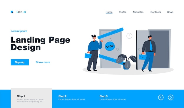 Man and woman having different business possibilities isolated landing page in flat style