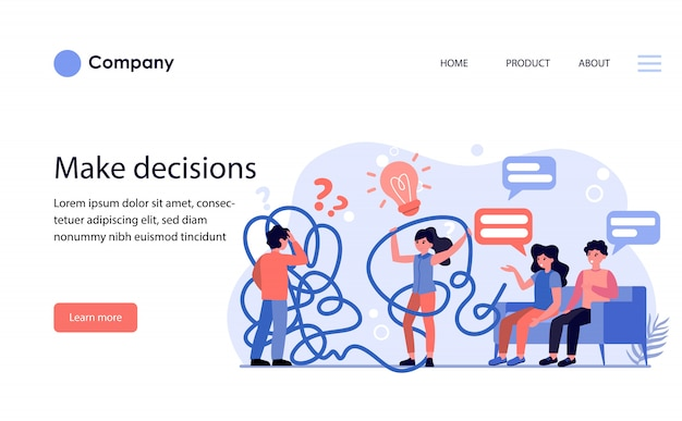 Man and woman having problems while making decisions. website template or landing page
