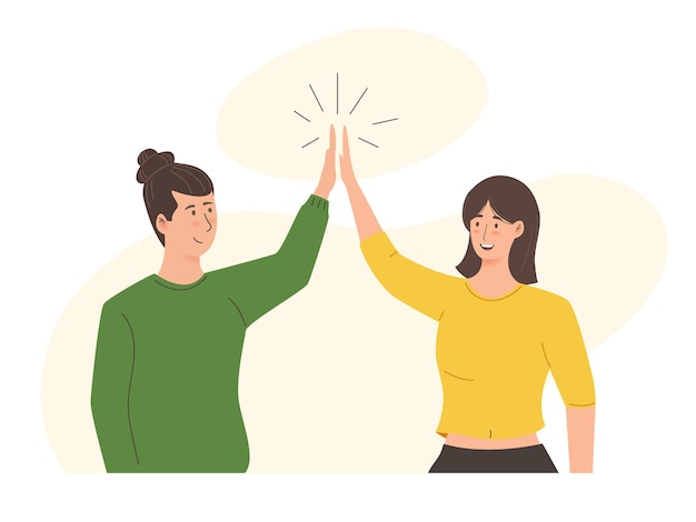 Man and woman high five illustration