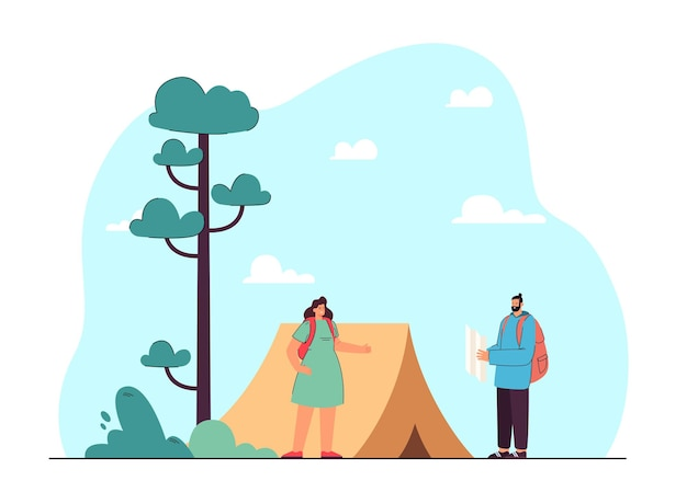 Man and woman on hike flat illustration