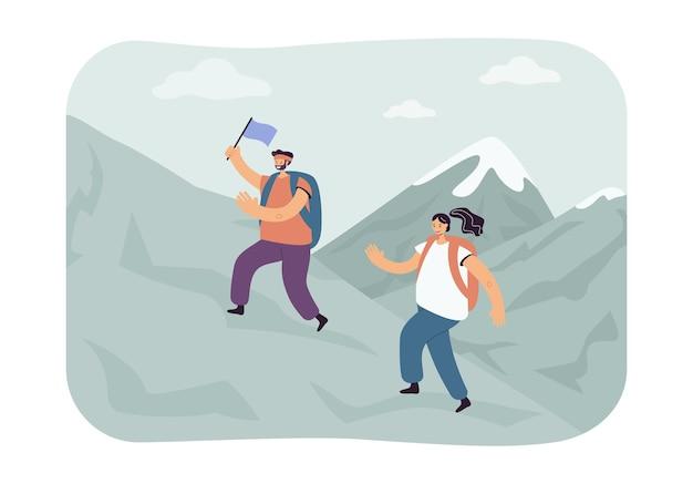 Man and woman hiking illustration