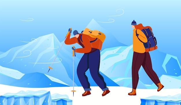 Мужчина женщина, походы в горы зимой векторные иллюстрации счастливая пара персонаж в приключенческий спорт на природе пейзаж со снегом
