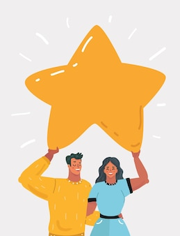 Man and woman hold star