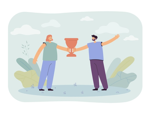 Man and woman holding cup illustration
