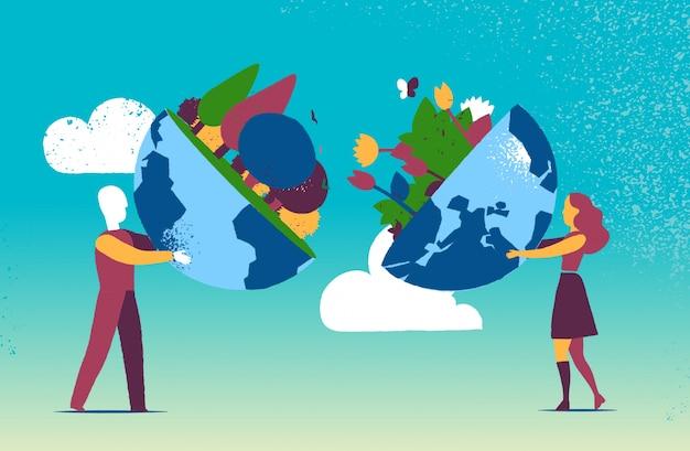 Man and woman holding half earth globe