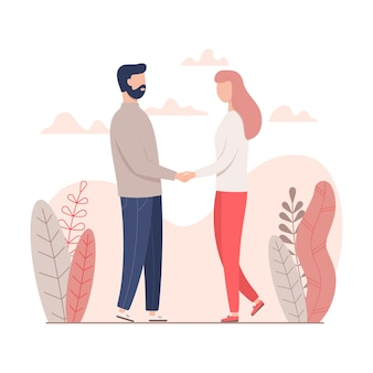 Man and woman holding hands for valentine's day.