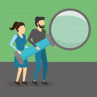 Man and woman holding magnifying glass, flat style