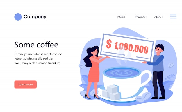 Man and woman holding million bill over coffee cup. website template or landing page