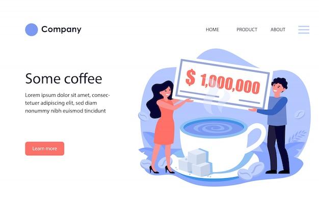 Uomo e donna che tengono milioni di fatture sopra la tazza di caffè modello di sito web o pagina di destinazione