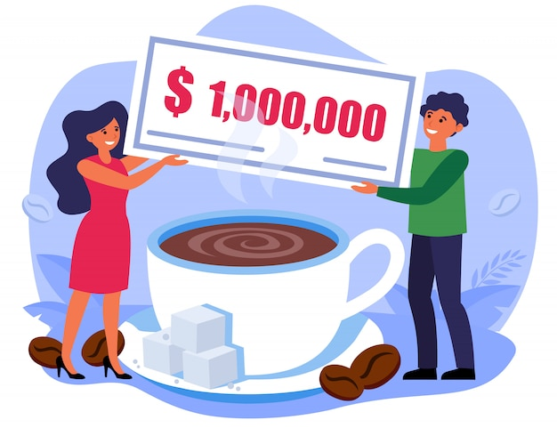 Man and woman holding million bill over coffee cup