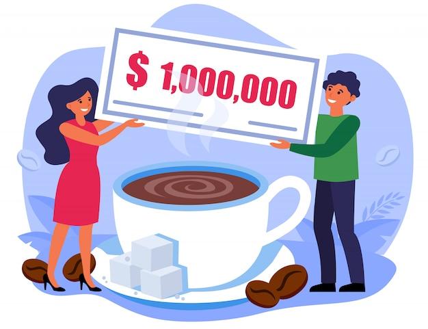 Uomo e donna che tengono la fattura di milione sopra la tazza di caffè