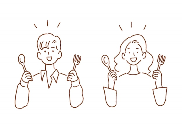 Man and woman holding spoon and fork