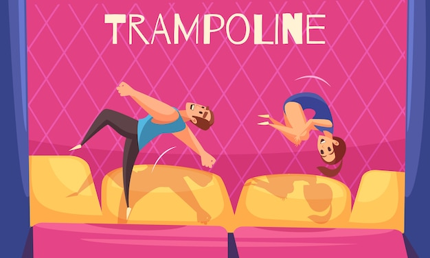 Man and woman on jumping trampolines