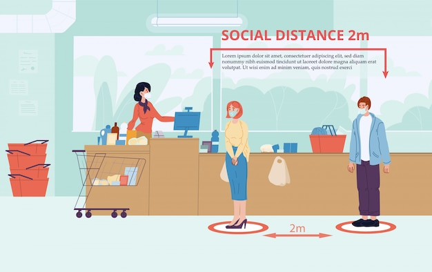 Man woman keep social distance two meter at shop