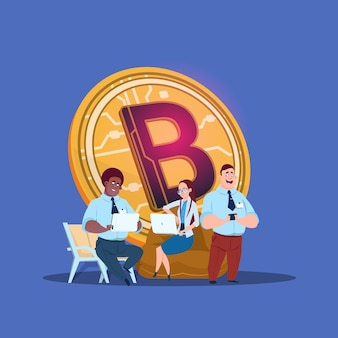 Man woman laptop bitcoin online crypto currency mining chat bubble mix race concept on blue background flat