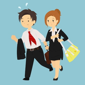 Man and woman late for work vector character