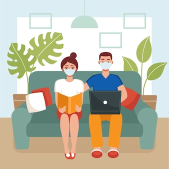 Man and woman in masks are sitting on a couch