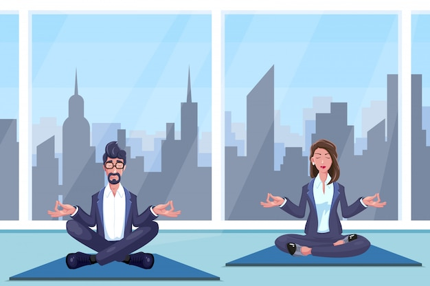 Man and woman meditates at office illustration
