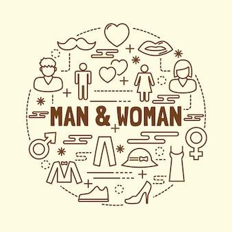 Man and woman minimal thin line icons set