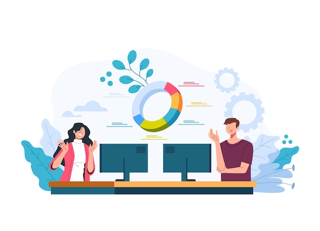 Man woman office workers team working at business financial analytic statistic concept. vector flat graphic design illustration