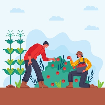 Man and woman organic farming concept