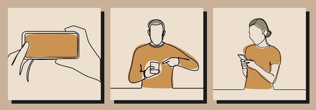 Мужчина женщина играть в телефон одной линии искусства векторные иллюстрации