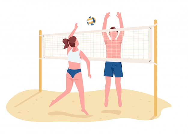 Man and woman playing beach volleyball flat color vector faceless characters. active summer entertainment, sport game isolated cartoon illustration