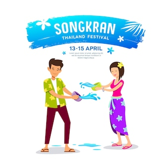 Man and woman playing water bowl on happy songkran day.