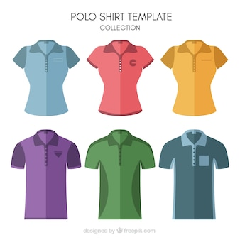Man and woman polo shirt template collection