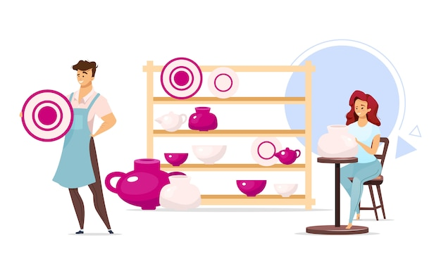 Man and woman in pottery studio flat color illustration. male and female characters next to shelf with dishes. clayware, ceramics production. isolated cartoon character on white background