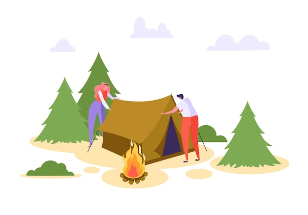 Man woman put up tent forest vacation.