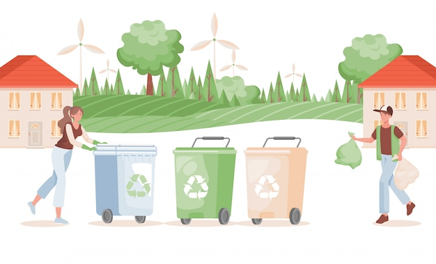 Man and woman putting garbage in containers   illustration. sorting and recycling waste concept.