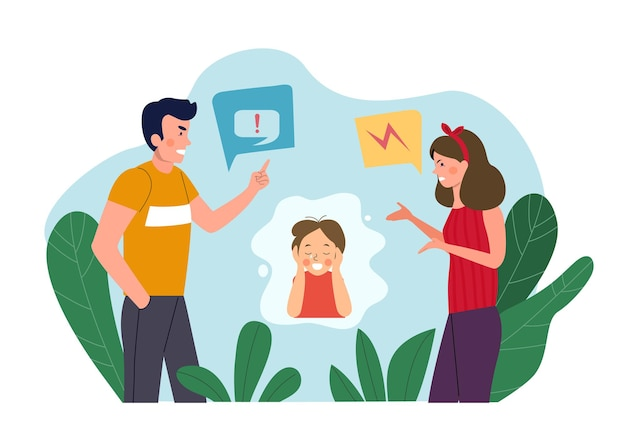 Man and woman  quarreling and baby cries isolated. vector flat style illustration