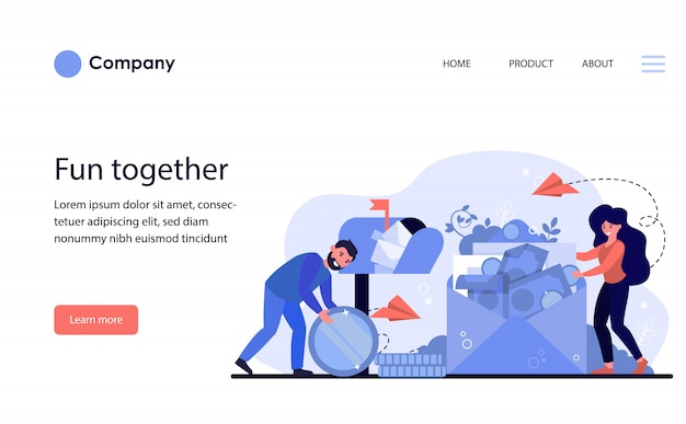 Man and woman receiving money order. website template or landing page