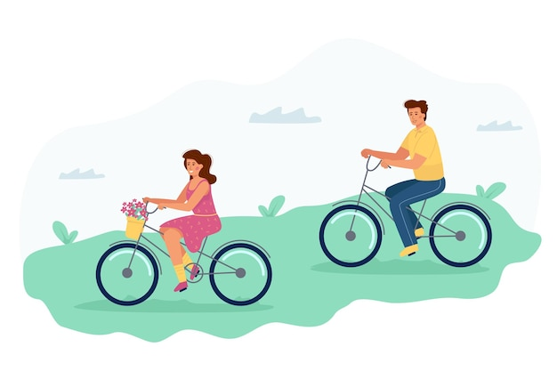 A man and a woman ride bicycles, a romantic date on cycles for a couple.