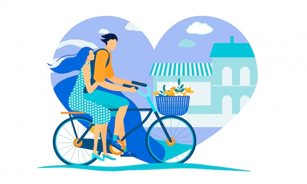 Man and woman riding bicycle on city background