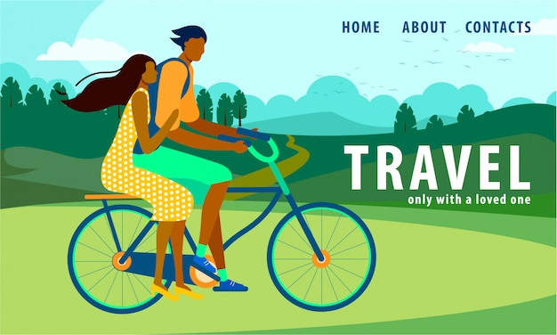Man and woman riding bicycle. summer time vacation