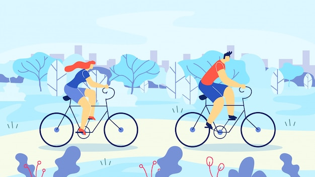 Man and woman riding bicycles out town cartoon.