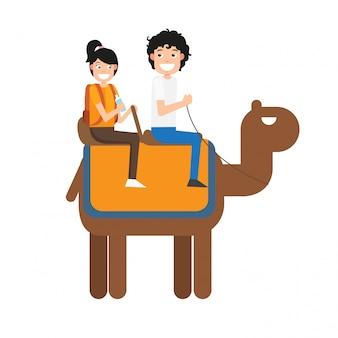 Man and woman riding camel, illustration.