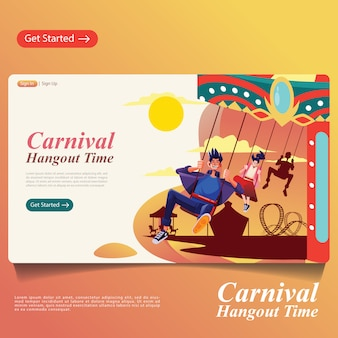 Man and woman riding carousel in carnival banner,