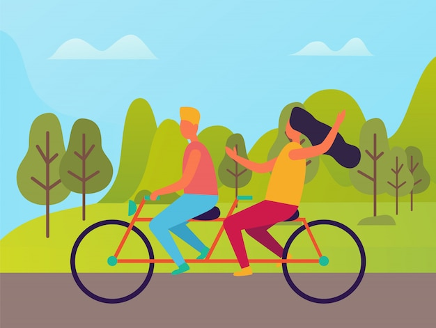 Man and woman riding on double bike vector people