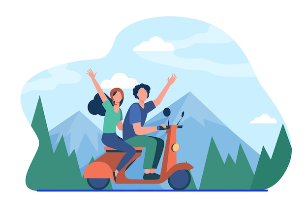 Man and woman riding moped in mountains.